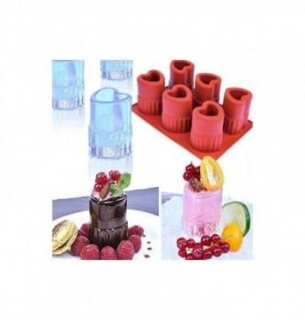 Silicone mold 6 ice-shot glasses hearts
