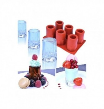 Silicone mold 6 ice-shot glasses hexagons