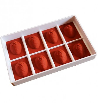 Silicone mold jelly & ice-cream 8 strawberries