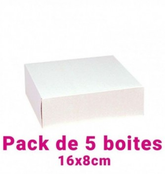 Lot de 5 boites pâtissières carrées blc 16x8cm