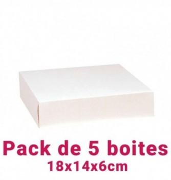 Lot de 5 boites pâtissières rectangulaire blc 18x14x6cm