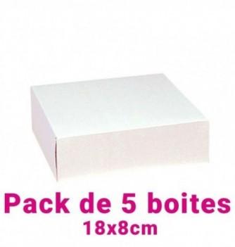 Lot de 5 boites pâtissières carrées blc 18x8cm