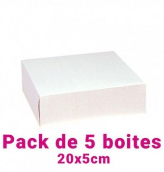 Lot de 5 boites pâtissières carrées blc 20x5cm