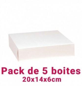 Lot de 5 boites pâtissières rectangulaire blc 20x14x6cm