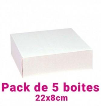 Lot de 5 boites pâtissières carrées blc 22x8cm