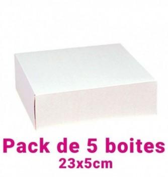Lot de 5 boites pâtissières carrées blc 23x5cm