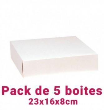 Lot de 5 boites pâtissières rectangulaire blc 23x16x8cm