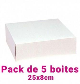 Lot de 5 boites pâtissières carrées blc 25x8cm