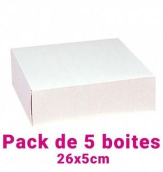 Lot de 5 boites pâtissières carrées blc 26x5cm