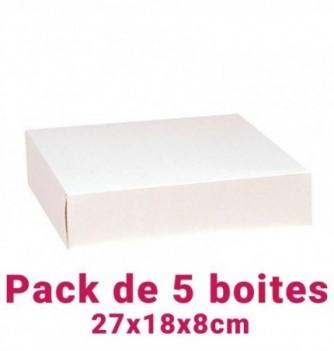 Lot de 5 boites pâtissières rectangulaire blc 27x18x8cm
