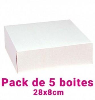 Lot de 5 boites pâtissières carrées blc 28x8cm