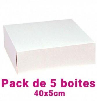 Lot de 5 boites pâtissières carrées blc 40x5cm