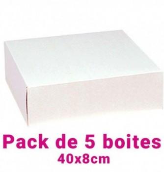 Lot de 5 boites pâtissières carrées blc 40x8cm