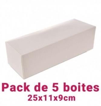 Lot de 5 boites pâtissières rectangulaire blc 25x11x9cm