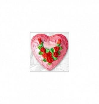 Moule Silicone Coeur avec Roses 65mm