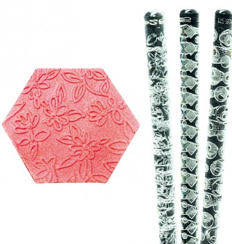 Relief Rolling Pin - Flowers - Diam. 25mm
