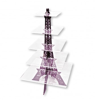 Présentoir à Gâteaux Tour Eiffel Aspect Verre
