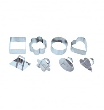 Pastry cutters - 8 Geometric shapes 75 to 80x40mm