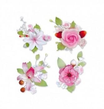 Gumpaste Flowers - 10 bunches pink flowers