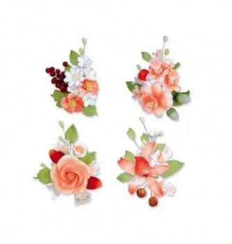 Bouquet de Fleur en Pastillage Assortiment Rouge