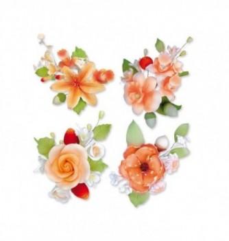 Gumpaste flowers - 10 bunches peach flowers