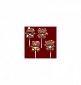 Chocolate mold lollipops 4 animals 8pcs 80mm